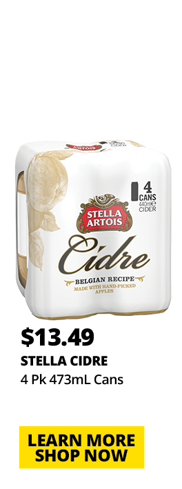 Stella Cidre, 4 Pk 473mL Cans, $13.49. Learn More Shop Now